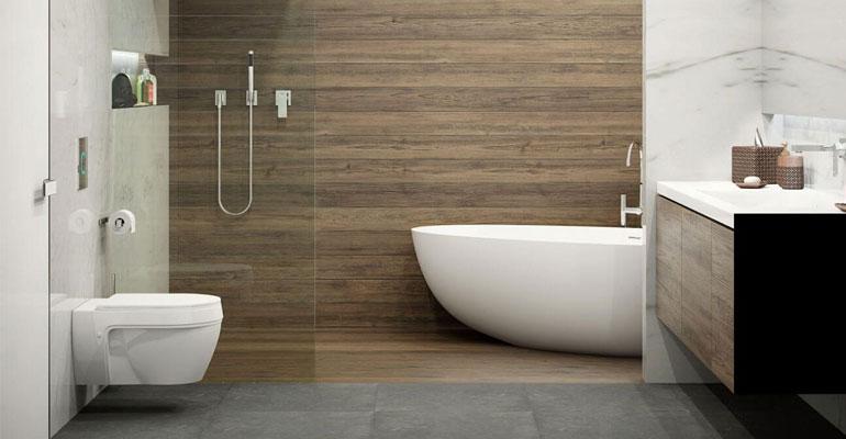 Дизайн ванной комнаты мрамор и дерево